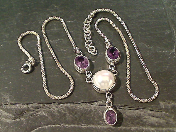 "16""-17"" Amethyst, Pearl, Sterling Silver Necklace"