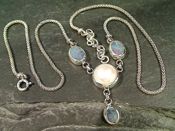"16""-17"" Opal, Pearl, Sterling Silver Necklace"