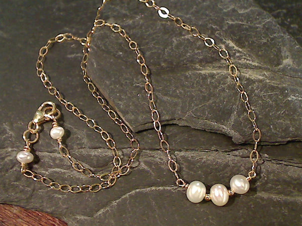 "16"" Pearl, Gold Filled Necklace"
