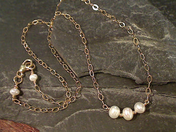 "18"" Pearl, Gold Filled Necklace"