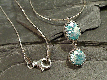 "17.5"" Roman Glass, Sterling Silver Necklce"