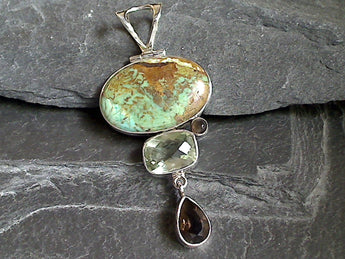 Boulder Turquoise, Green Amethyst, Smokey Quartz, Sterling Silver Large Pendant