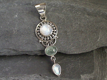 Moonstone, Blue-Green Tourmaline, Sterling Silver Pendant