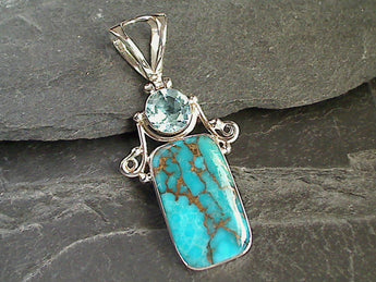 Blue Copper Turquoise, Blue Topaz, Sterling Silver Pendant