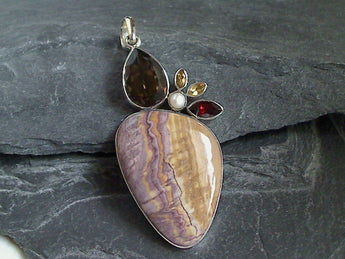Wonderstone, Smokey Quartz, Citrine, Garnet, Sterling Silver Large Pendant