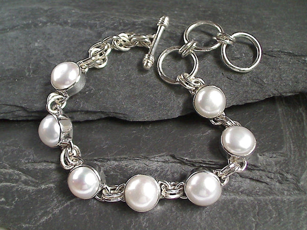 "7.25"" to 8.5"" Pearl, Sterling Silver Bracelet"