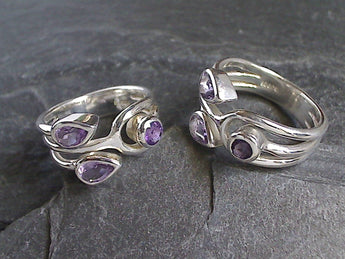 Size 8 Amethyst, Sterling Silver Ring