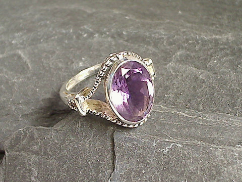 Size 6 Amethyst, Sterling Silver Ring