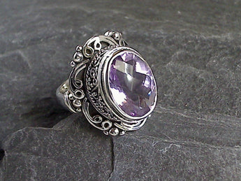 Size 6.5 Amethyst, Sterling Silver Ring