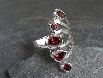 Size 8 Garnet, Sterling Silver Ring