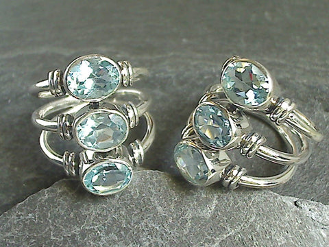 Size 9 Blue Topaz, Sterling Silver Ring