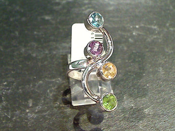 Size 6 Blue Topaz, Amethyst, Citrine, Peridot, Sterling Silver Ring