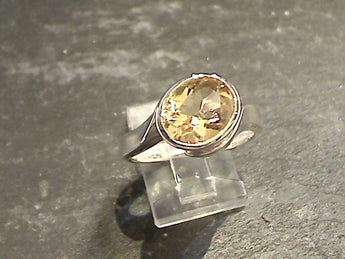 Size 9 Citrine, Sterling Silver Ring