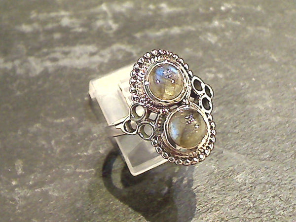 Size 9 Labradorite, Sterling Silver Ring