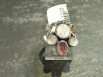 Size 6 Moonstone, Tourmaline, Sterling Silver Ring