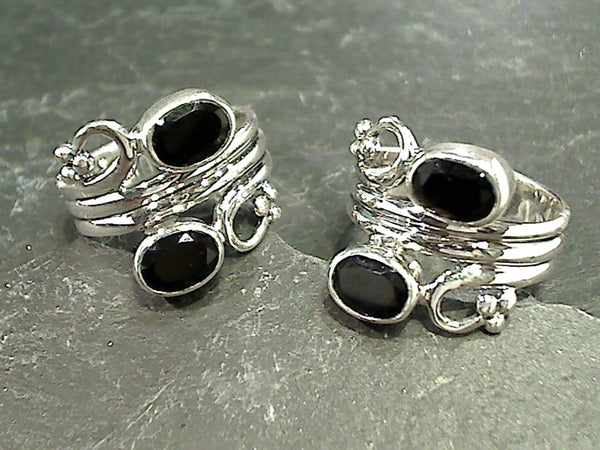 Size 6 Black Onyx, Sterling Silver Ring