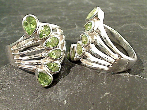 Size 7.5 Peridot, Sterling Silver Ring