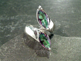 Size 8 Mystic Quartz, Sterling Silver Ring