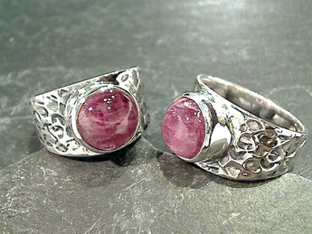 Size 7.5 Pink Tourmaline, Sterling Silver Ring
