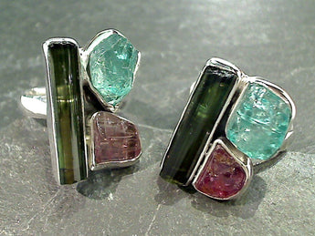 Size 8 Tourmaline, Apatite, Sterling Silver Ring