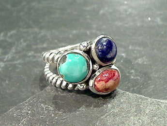 Size 6 Lapis, Coral, Turquoise, Sterling Silver Ring