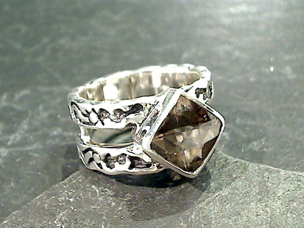 Size 8 Smokey Quartz, Sterling Silver Ring