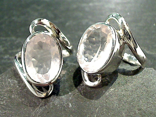 Size 7.5 Rose Quartz, Sterling Silver Ring