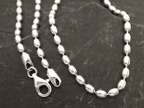 "24"" 3mm Oval Bead Chain, Sterling Silver"