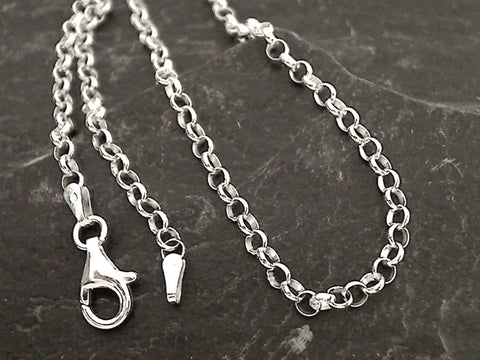 "20"" 3mm Round Rolo Chain, Sterling Silver"
