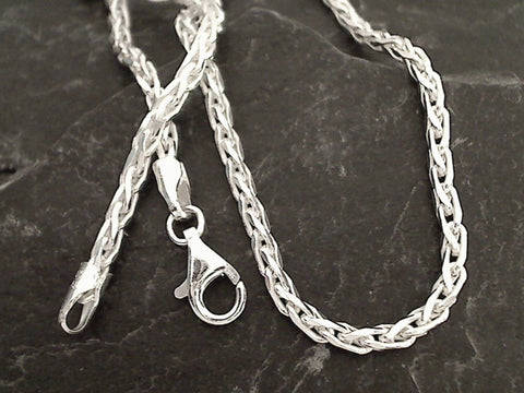 "24"" 3mm Di-Cut Wheat Link Chain, Sterling Silver"