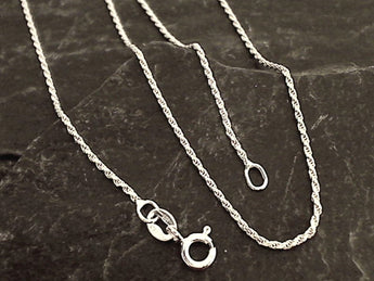 "16"" 1mm Rope Chain, Sterling Silver"