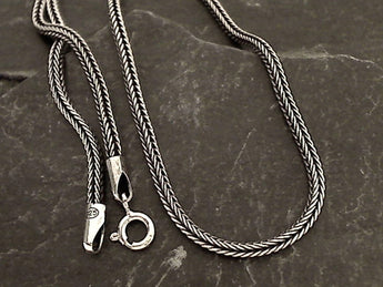 "22"" 2mm Oxidized Sterling Silver Franco Link Chain"