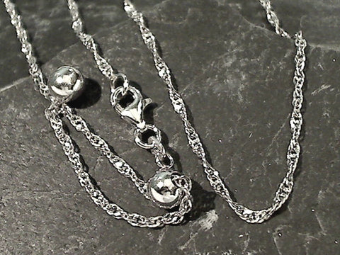 "Adj. to 24"" 1.5mm Oxidized Singapore Link Chain, Sterling Silver"