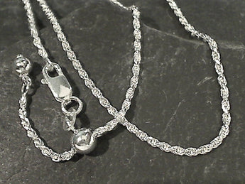 "Adj. to 22"" 1.5mm Rope Link Chain, Sterling Silver"