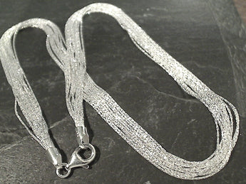 "17"" Sterling Silver 12 Strand Necklace"