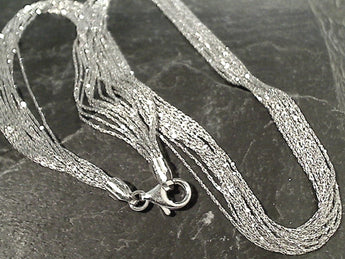 "17"" Rhodium Plated Sterling Silver 12 Strand Necklace"