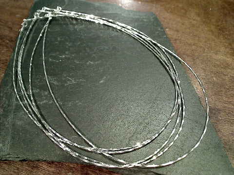"18"" 1mm Twisted Di-Cut Square Omega Chain / Neck Wire, Sterling Silver"