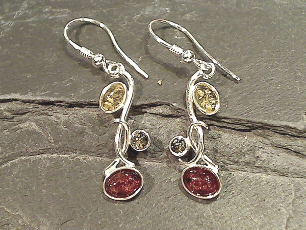 Amber, Sterling Silver Earrings