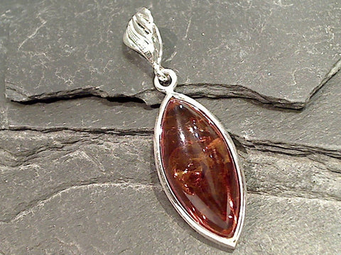 Amber, Sterling Silver Long Pendant