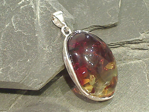 Amber, Sterling Silver Pendant