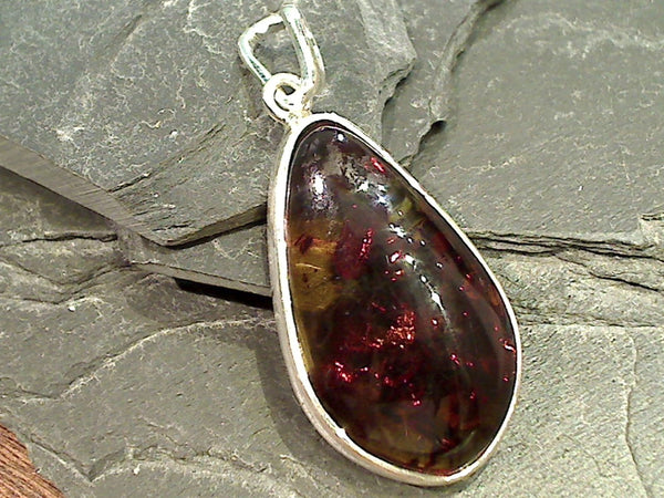 Amber, Sterling Silver Large Pendant