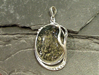 Green Amber, Sterling Silver Pendant