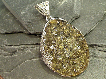 Green Amber, Sterling Silver Large Pendant