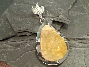 Copal, Sterling Silver Large Pendant