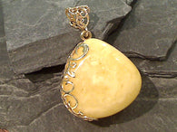 Copal, Gold Plate Over Sterling Silver Pendant - Thick Stone