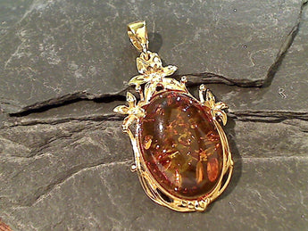 Amber, Gold Plate Over Sterling Silver Pendant