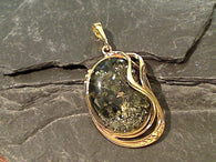 Green Amber, Gold Plate Over Sterling Silver Pendant