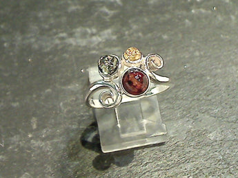 Size 6 Amber, Sterling Silver Ring