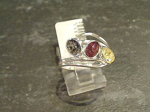 Size 6.75 Amber, Sterling Silver Ring
