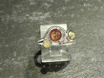 Size 7.75 Amber, Sterling Silver Ring